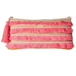 Lilly Pulitzer Fiji Fringe Beach Clutch Neon Pink